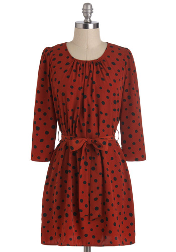 Spotted in Pittsburgh Dress - Short, Red, Polka Dots, Belted, Sack, 3/4 Sleeve, Fall, Work, Casual