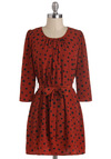 Spotted in Pittsburgh Dress - Short, Red, Polka Dots, Belted, Sack, 3/4 Sleeve, Work, Casual