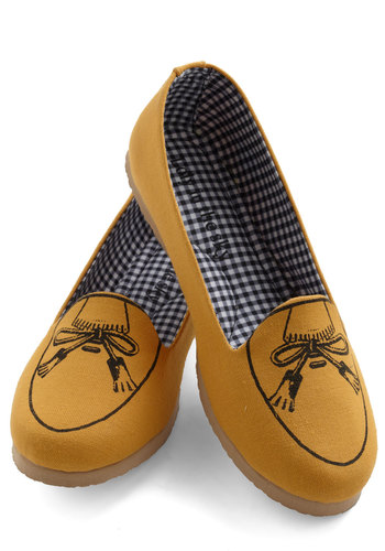 Pass the Muster Flat - Yellow, Menswear Inspired, Flat, Bows, Work, Casual, Nautical, International Designer, Travel, Quirky