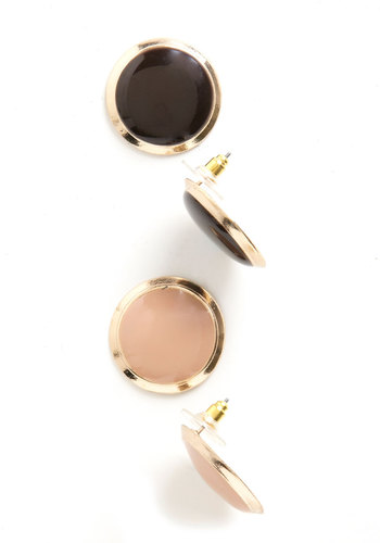 Chic as a Button Earrings - Pink, Solid, Blue, Gold