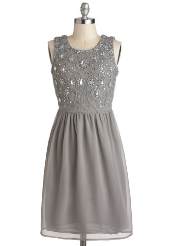 Glitz a Wonderful Life Dress - Silver, Beads, Holiday Party, A-line, Sleeveless, Mid-length, Grey, Rhinestones, Formal, Film Noir, Vintage Inspired, Luxe