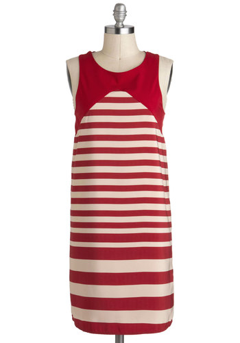 On Board and Upward Dress - Mid-length, Red, White, Stripes, Sleeveless, Sack, Casual, Nautical, Vintage Inspired, 30s