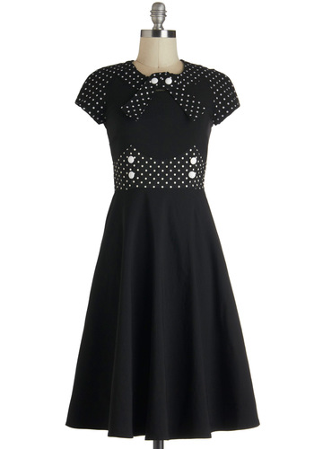 East Coast Swing Dress - Black, White, Polka Dots, Buttons, A-line, Short Sleeves, Vintage Inspired, Party, 50s, Crew, Fit & Flare, Pinup, Long