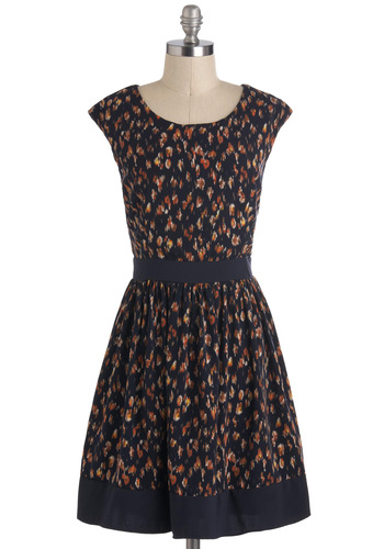 Rainy Daydreaming Dress - Blue, Orange, Print, A-line, Cap Sleeves, Party, Work, Mid-length