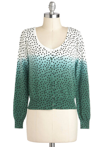 I Seed What You Mean Cardigan - Green, Black, White, Polka Dots, Buttons, Daytime Party, Long Sleeve, Cotton, Short, Ombre, Spring