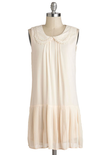 Patisserie Delicacy Dress - Chiffon, Short, Cream, Solid, Peter Pan Collar, Drop Waist, Sleeveless, Collared, Casual, 20s, Graduation