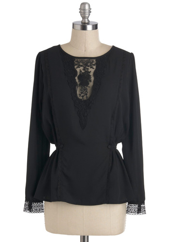 Refine With Me Top - Mid-length, Black, Solid, Lace, Work, Long Sleeve