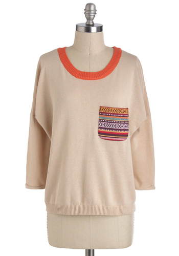 Southwest in My Heart Sweater - Mid-length, Tan, Red, Yellow, Purple, Embroidery, Pockets, Casual, 3/4 Sleeve, Boho, Rustic