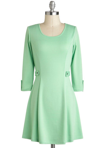 Songs of the Pastel Dress - Short, Mint, Solid, Pastel, 3/4 Sleeve, Spring, 60s, Mod, Casual, Mini, Summer