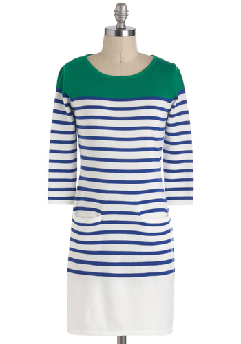 Straight Aces Dress - Green, Blue, White, Stripes, Pockets, Cotton, Short, Casual, Nautical, Spring