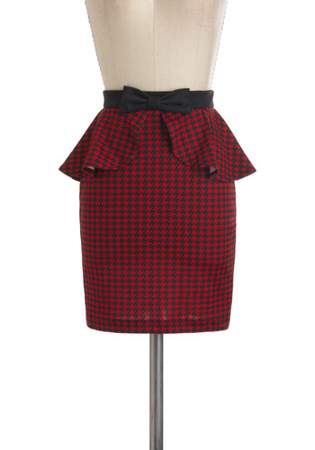 Artist Rep Skirt - Red, Black, Houndstooth, Bows, Pinup, Peplum, Work, Short