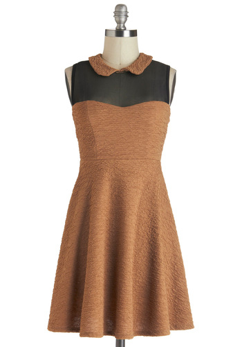 Lunch Club Dress - Short, Orange, Black, A-line, Sleeveless, Collared, Casual