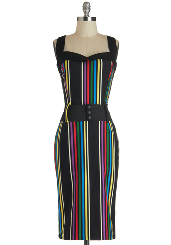 Cool Vibes Dress in Stripes - Black, Multi, Stripes, Belted, Party, Sheath / Shift, Pinup, Vintage Inspired, Statement, Cotton, Variation, Woven, 40s, Gifts Sale