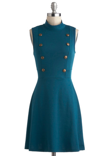 A Matter of Tact Dress - Blue, Solid, Buttons, Casual, A-line, Sleeveless, Cowl, Military, Work, Vintage Inspired, 60s, Mod, Mid-length