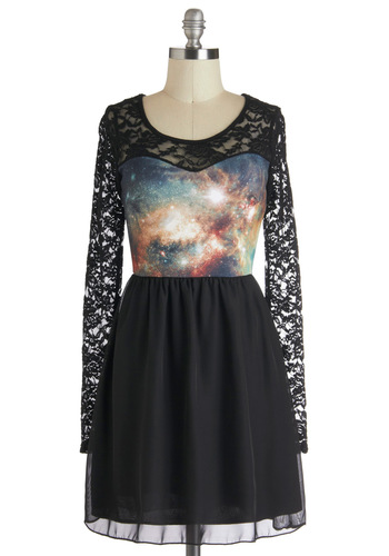 Space Lace Dress - Sheer, Short, Black, Multi, Lace, Party, A-line, Long Sleeve, Novelty Print, Statement, Quirky