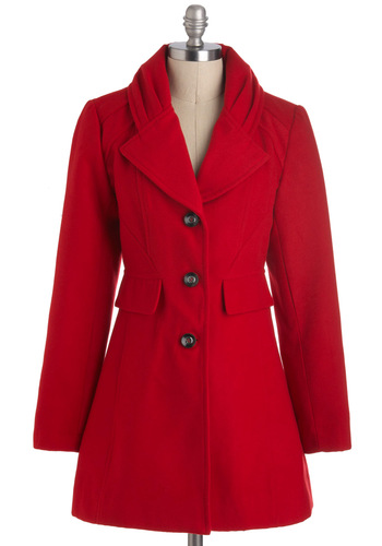 Never Been Redder Coat - Red, Solid, Buttons, Pockets, Long Sleeve, Long, 3, Winter
