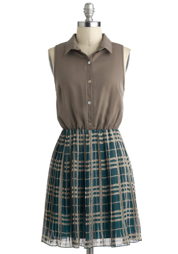 Back to Square Wonderful Dress - Green, Brown, Plaid, Buttons, Casual, Scholastic/Collegiate, Shirt Dress, Twofer, Sleeveless, Collared, Mid-length