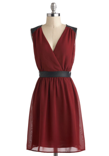 Fine Wine Dress - Red, Black, Cutout, Cocktail, A-line, V Neck, Mid-length, Backless, Sleeveless, Party