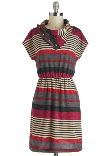 Unstoppable in Stripes Dress - Stripes, Buttons, Casual, A-line, Short Sleeves, Cowl, Short, Multi, Pink, Grey