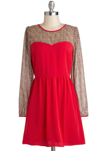 I Heart Honeysuckle Dress - Red, Multi, Party, Vintage Inspired, Long Sleeve, Short, A-line