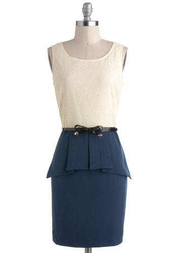 Cocktail Hour Cool Dress - Sheer, Short, Blue, Tan / Cream, Cutout, Belted, Work, Twofer, Peplum, Sleeveless