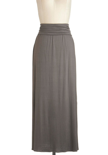 Fine, Be That Clay Skirt - Long, Grey, Solid, Casual, Maxi, Minimal