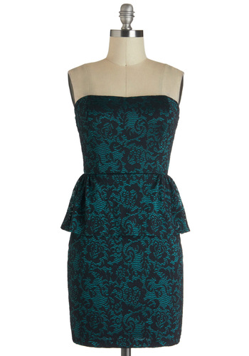 Just Goes to Shadow Dress in Emerald - Green, Black, Floral, Peplum, Short, Cocktail, Strapless, Holiday Party