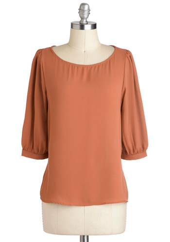 Underlying Elegance Top in Papaya - Orange, Solid, Work, 3/4 Sleeve, Mid-length, Minimal, Variation