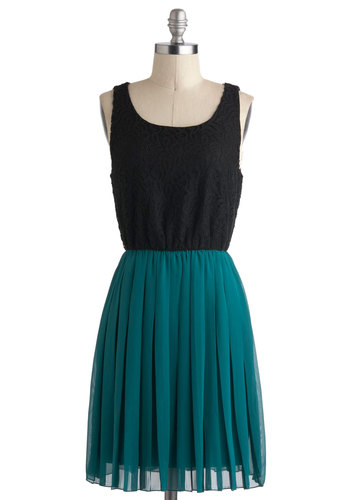 Just Two Cute Dress - Lace, Pleats, Mid-length, Green, Twofer, Sleeveless, Casual, Minimal, Black