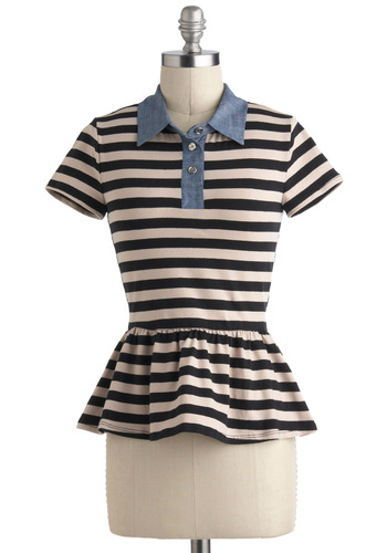 Work From Coffee Shop Top - Cotton, Short, Multi, Blue, Tan / Cream, Black, Stripes, Buttons, Casual, Peplum, Short Sleeves, Menswear Inspired