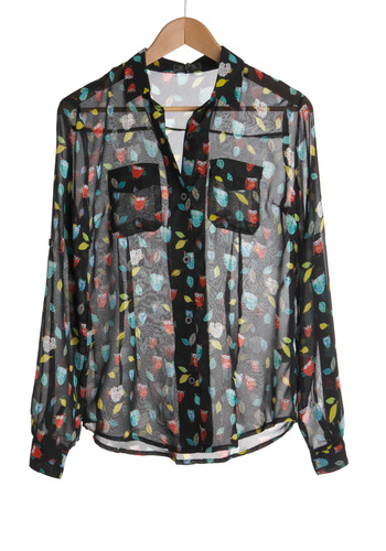 Go All Owl Top - Black, Red, Yellow, Green, Blue, Print with Animals, Buttons, Pockets, Work, Long Sleeve, Fall, Mid-length, Sheer, Casual