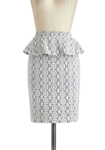 Lace You to Work Skirt - Blue, White, Eyelet, Peplum, Mid-length, Party, Work