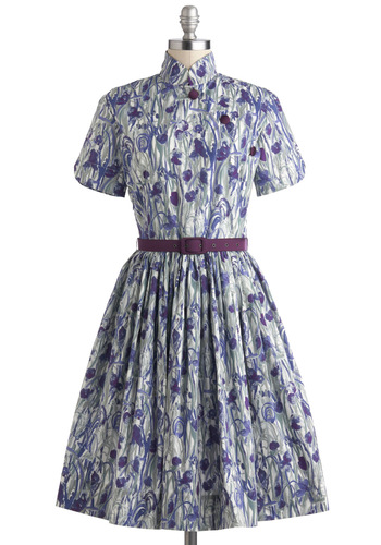 See Eye to Iris Dress - Short Sleeves, International Designer, Long, Cotton, Floral, Pockets, Belted, Daytime Party, Fit & Flare, Collared, Luxe, Blue, Purple, Grey, Spring, Vintage Inspired, 50s, Exclusives