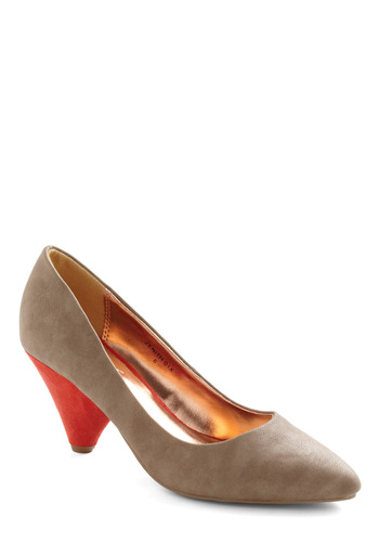 Tan-gerine Heel - Tan, Orange, Mid, Faux Leather, Party, Work, Vintage Inspired, Colorblocking