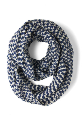Raising Cane Circle Scarf in Ice by Louche - International Designer, Blue, White, Print, Knitted