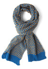 Raising Cane Scarf in Sky by Louche - International Designer, Yellow, Blue, Print, Knitted