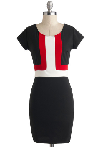 Swiss Chic Dress - Mid-length, Black, Red, White, Exposed zipper, Work, Colorblocking, Shift, Short Sleeves