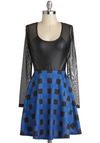 Checker on It Dress - Short, Blue, Black, Checkered / Gingham, Cutout, Party, Girls Night Out, A-line, Long Sleeve, Scoop