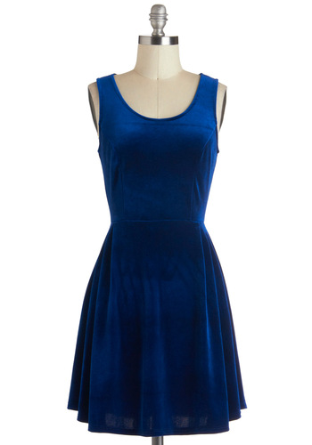 Celebrate the Day Dress - Blue, Solid, A-line, Tank top (2 thick straps), Mid-length, Party, Winter, Scoop
