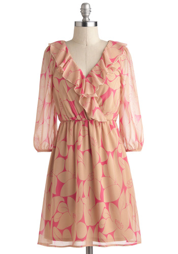 Search Hibiscus and Aloha Dress - Tan / Cream, Floral, Ruffles, A-line, 3/4 Sleeve, V Neck, Sheer, Short, Daytime Party, Pink