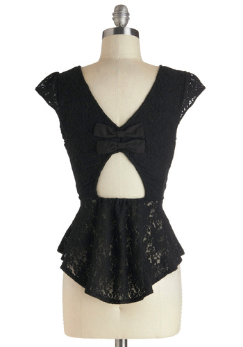 Little Black Top - Black, Solid, Bows, Cutout, Lace, Party, Cap Sleeves, Sheer, Mid-length