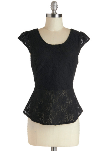 Little Black Top - Black, Solid, Bows, Cutout, Lace, Party, Cap Sleeves, Sheer, Mid-length, Holiday Party, Black, Short Sleeve, Lace