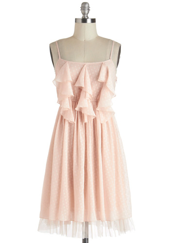 I Feel Giddy Dress - Pink, Ruffles, Daytime Party, A-line, Spaghetti Straps, Fairytale, Solid, Mid-length