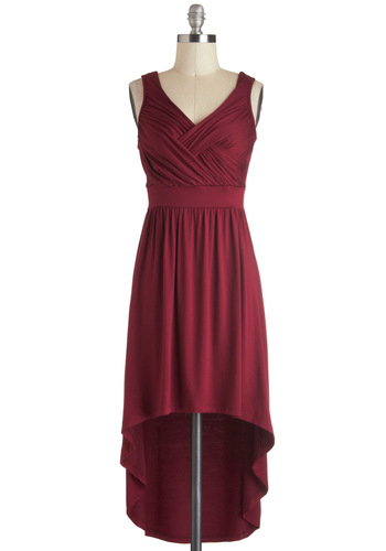 Sips of Sauvignon Dress - Solid, High-Low Hem, Tank top (2 thick straps), V Neck, Jersey, Short, Red, Casual