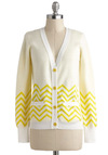 Lemon Peaks and Truffles Cardigan - White, Yellow, Buttons, Pockets, Casual, Long Sleeve, Cotton, Mid-length, Stripes, Chevron