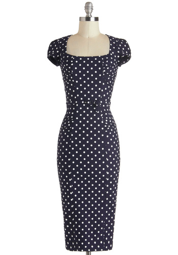 Dot You Agree? Dress by Stop Staring! - Blue, White, Polka Dots, Belted, Work, Pinup, Short Sleeves, Sheath / Shift, Daytime Party, Vintage Inspired, Long, Nautical, Party, 40s
