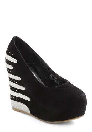 Space to Space Wedge - Black, Stripes, Wedge, Rhinestones, Glitter, High, Girls Night Out, Statement