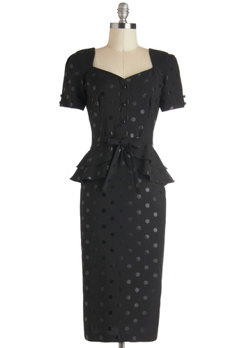 Muted Marvel Dress by Stop Staring! - Black, Polka Dots, Bows, Ruffles, Work, Pinup, Peplum, Short Sleeves, Long, Cocktail, Film Noir, 40s, Winter, Vintage Inspired