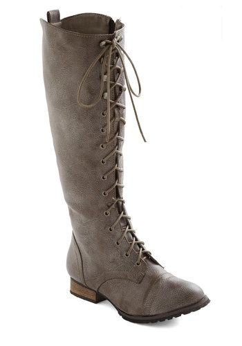 Crossing Borders Boot in Stone - Grey, Solid, Military, Lace Up, Low, Faux Leather, Winter