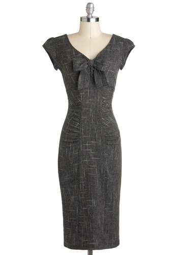 Sheath a Lady Dress by Stop Staring! - Grey, Bows, Ruching, Work, Cap Sleeves, Long, Shift, V Neck, Vintage Inspired, Pinup